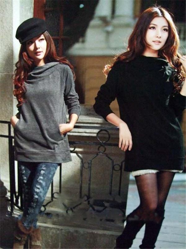 包邮费韩版女装2012春装新款长袖款加大码显瘦纯棉女士T恤衫3305