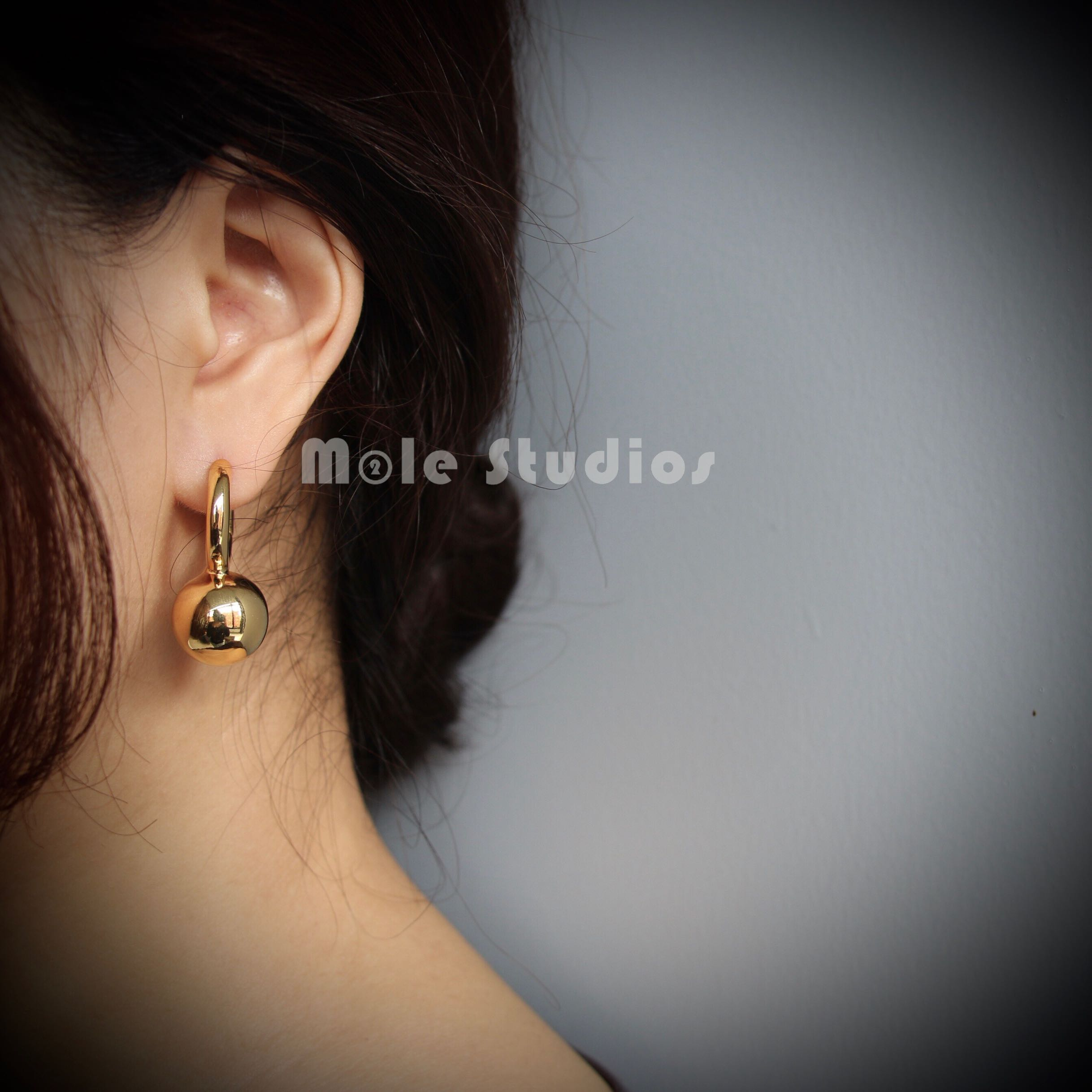Mobile studios / INS bloggers same chic ring imitation pearl earrings copper plated gold earrings
