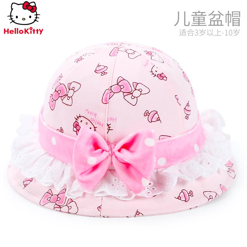 凯蒂猫儿童宝宝帽子春秋女童遮阳帽公主小孩渔夫帽防晒太阳帽盆帽