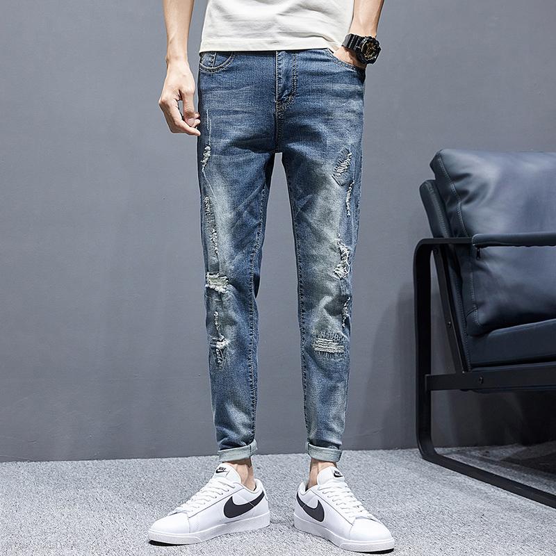 夏季新款弹力九分破洞牛仔裤小脚修身韩版潮流学生K1802-P50