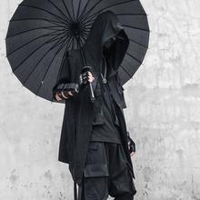 夏季暗黑大码男装风衣青少年中长款无袖披风斗篷连帽黑色巫师外套