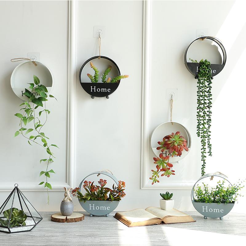 北欧铁艺壁挂花盆家居墙壁面上装饰品挂件卧室客厅墙饰仿真花植物