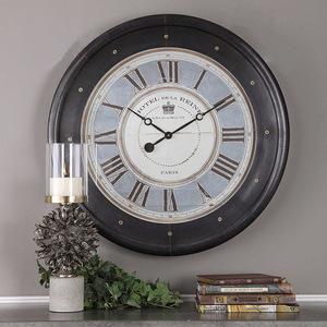 Uttermost铜制台钟客厅桌面摆件座闹钟无秒针美式创意饰品不准时