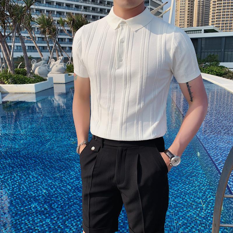 MY23-P65夏季型男纯色冰丝短袖 英伦修身翻领休闲针织粗线POLO衫2
