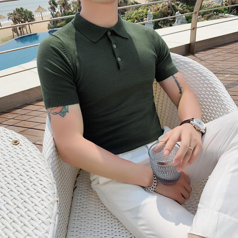 020-特P45夏季型男冰丝短袖纯色T恤 英伦修身翻领针织休闲POLO衫1