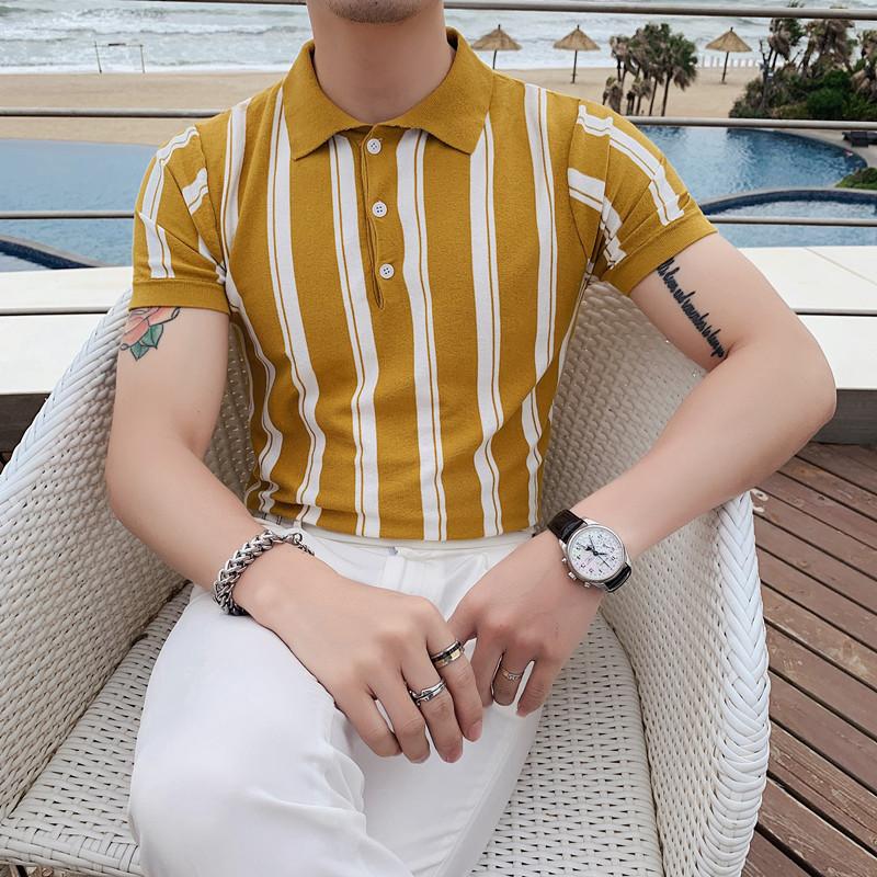 PT03-P55夏季型男冰丝短袖条纹T恤 英伦修身翻领针织休闲POLO衫