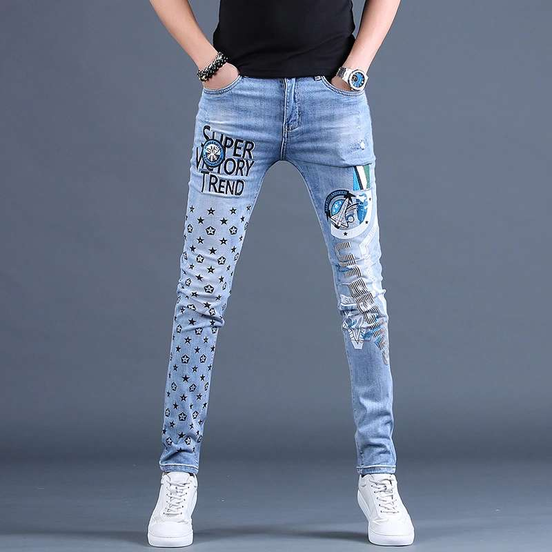 Spring new European and American men s Embroidered and printed jeans men s fashion brand slim fit small feet elastic casual pants loose