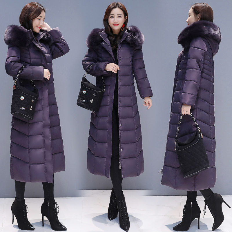 Middle aged and elderly womens long knee cotton padded jacket mothers clothing plus fat plus size down cotton padded jacket winter thick coat