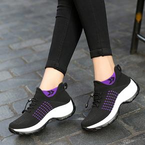 网面休闲跑步鞋女厚底增高女鞋原宿坡跟松糕鞋女袜子鞋增高波鞋女