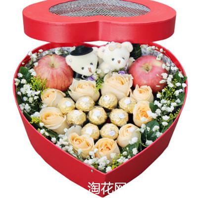 浙江绍兴上虞区嵊州市圣诞节苹果红玫瑰鲜花心形礼盒同城速递
