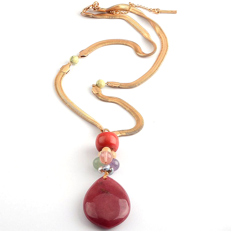 Europe and America KC jewelry personality fashion coral stone crystal stone Long Necklace sweater chain female Necklace accessories jewelry