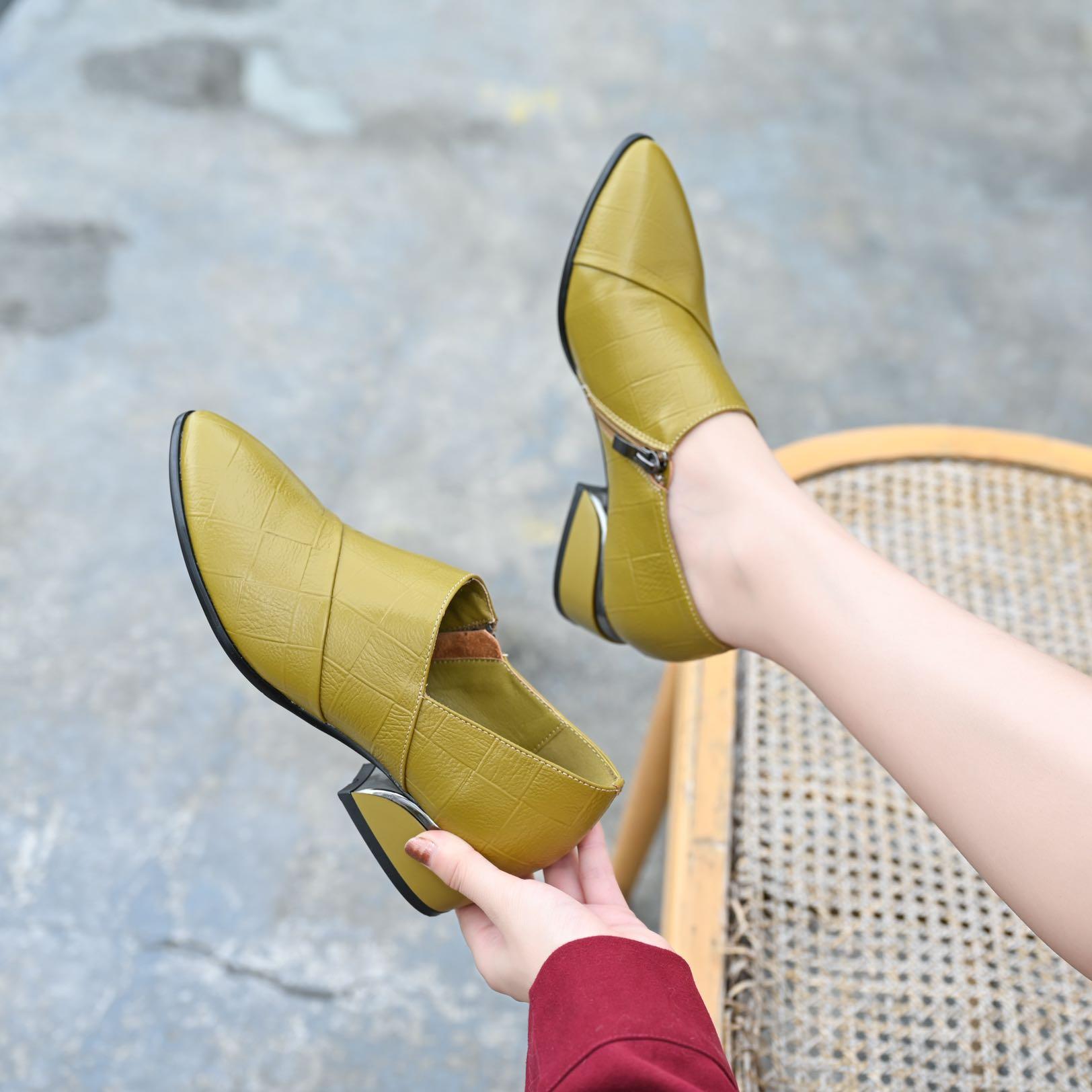 女简约大牌中跟舒适软牛皮单鞋
