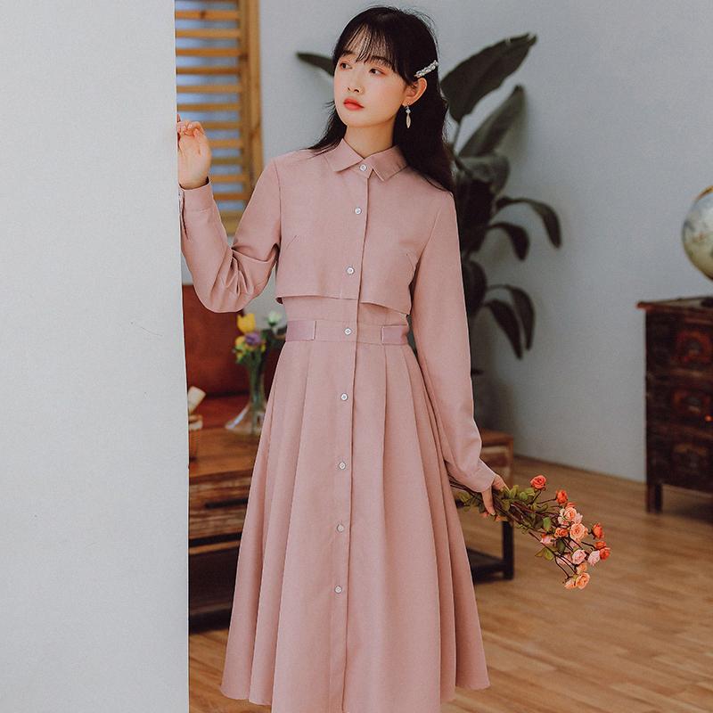 【8737#不低于98】实拍现货纯色长袖连衣裙