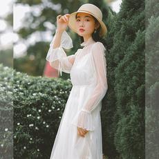 【8491#不低89】实拍现货两件套蕾丝网纱长袖圆领连衣裙 秋季新款