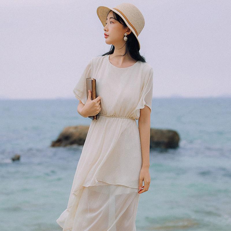 【6558#不低于89】实拍现货法式很仙短袖纯色雪纺连衣裙