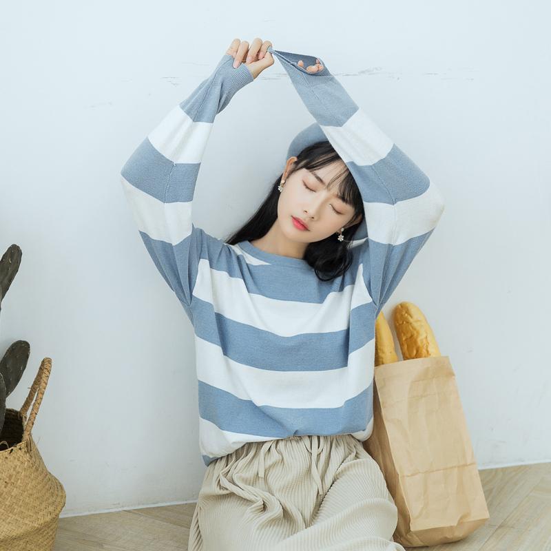 【6338#特价】针织衫女2018秋季新款条纹修身圆领简约上衣
