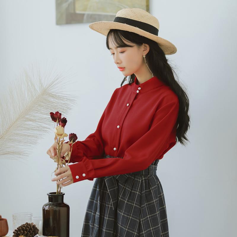 【8218#不低于69】气质2018秋装新韩版大红色上长袖衬衫女钉珠