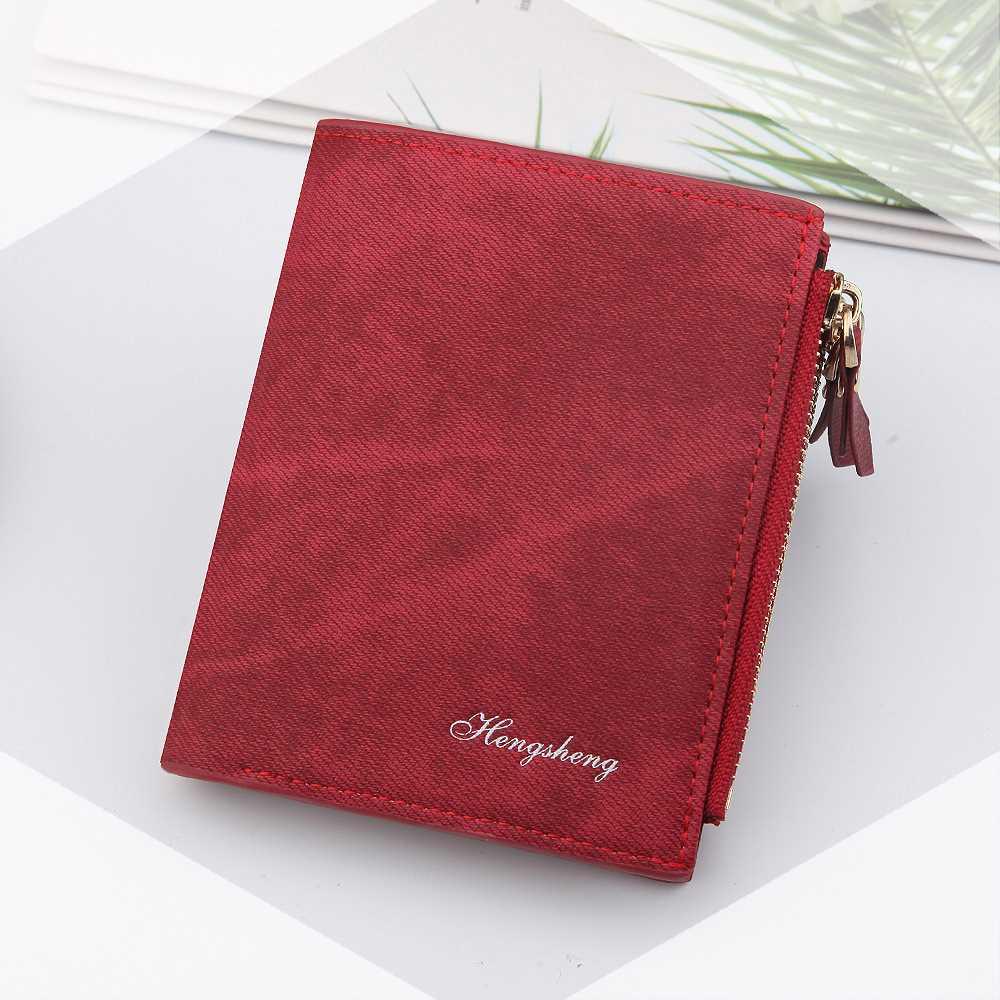 New wallet womens short retro canvas multi functional two fold buckle double zipper zero Purse