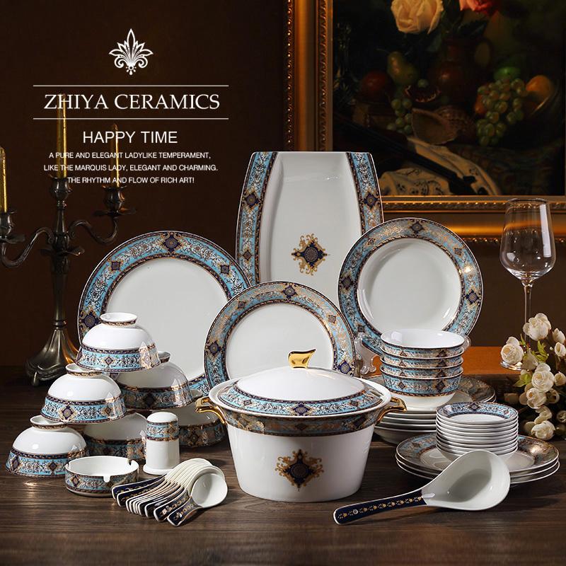 28头欧式骨瓷餐具套装家用碗碟盘奢华组合结婚陶瓷器乔迁礼品