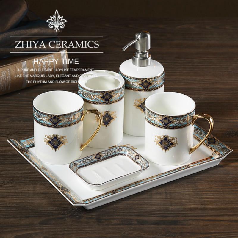波西米蓝卫浴五件套欧式骨瓷洗漱套件浴室用品卫生间漱口杯套装