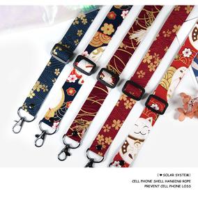 日系亚麻棉可调节挂绳挂脖手机壳