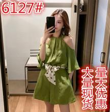夏季新款韩版抹茶绿色复古露肩高腰连体裤女减龄休闲阔腿短裤