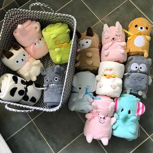 韩国可爱卡通动物小猪原宿珊瑚绒毛毯日系办公室午睡柔软毯空调毯