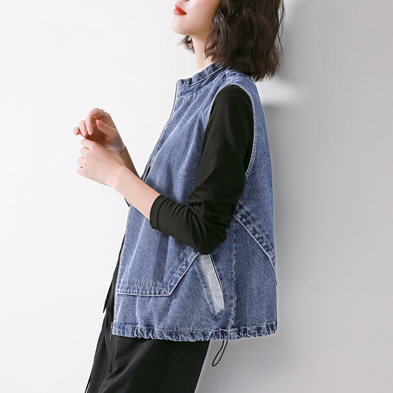 Denim vest women's spring and autumn wear thin short coat 2020 spring new Korean version waistcoat