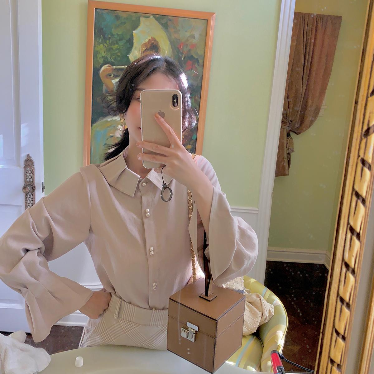 大喜自制2018冬季新款复古花边袖宽松韩范女装拼接长袖衬衫上衣女