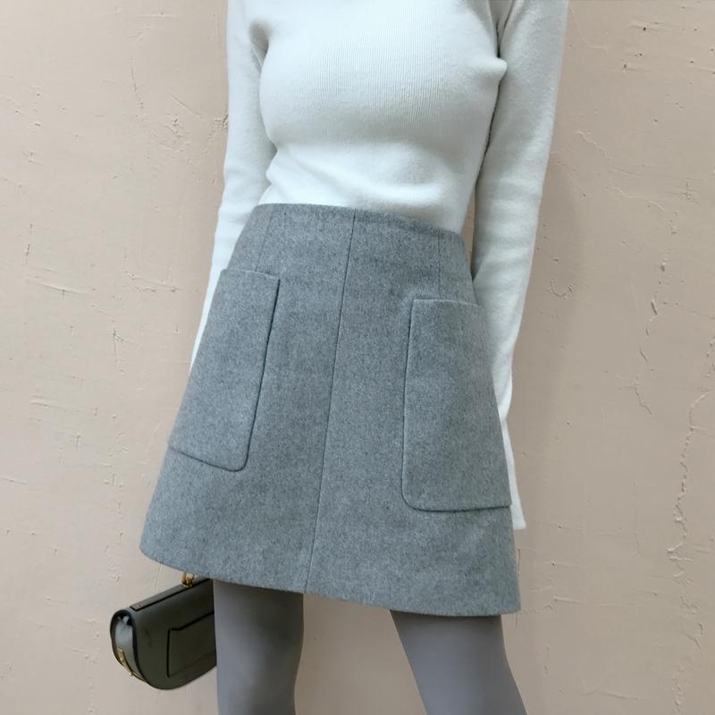 大喜自制2018冬装新款女装复古高腰半身裙女气质修身纯色A字短裙