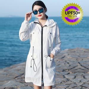 防晒衣女2021新款夏季中长款时尚户外骑车防紫外线防晒服薄款外套