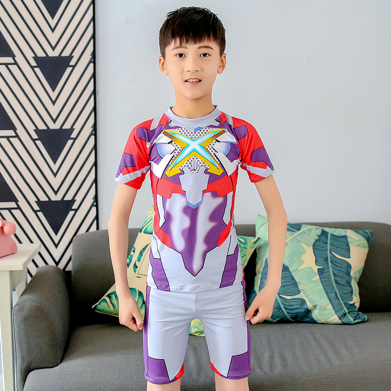 Cartoon childrens Swimsuit Boys split swimming trunks Set Boys middle and large childrens swimsuit and childrens swimming hot spring equipment