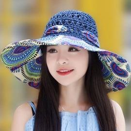 女夏韩版草帽大沿凉帽镂空沙滩帽大檐帽子可折叠遮阳帽太阳帽图片