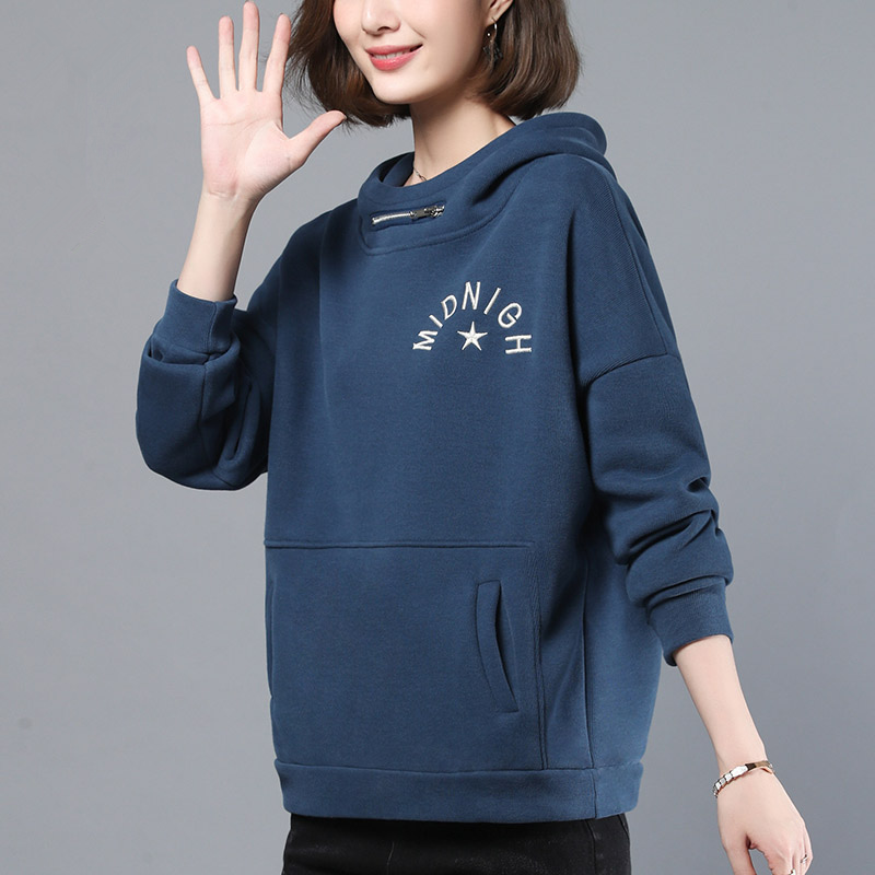 High collar embroidered Plush sweater for womens winter 2019 new loose retro Slouchy hoodie with thickened undercoat