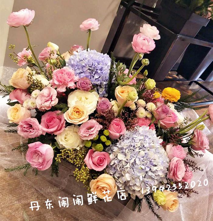 【玫瑰绣球花篮】丹东闹闹本地实体鲜花店/东港凤城宽甸鲜花速递
