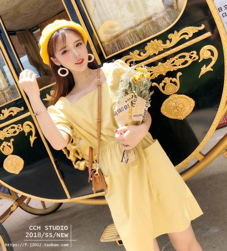 小番茄定制 短袖连衣裙显瘦收腰修身闺蜜纯色冷淡风中长款裙子