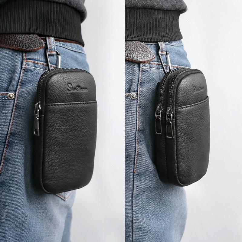 新款男士穿皮带手机腰包迷你真皮男包手机包男休闲牛皮户外小背包