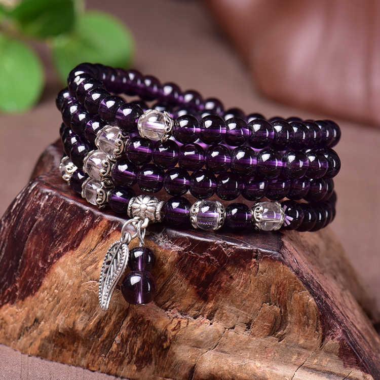 Korean fashion Amethyst garnet agate 108 multi circle womens Obsidian head Jewelry Bracelet