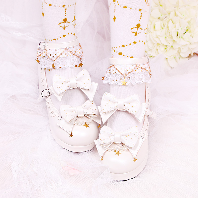 [Canruo Fanxing] original Lolita star yarn bow with single shoes for girls