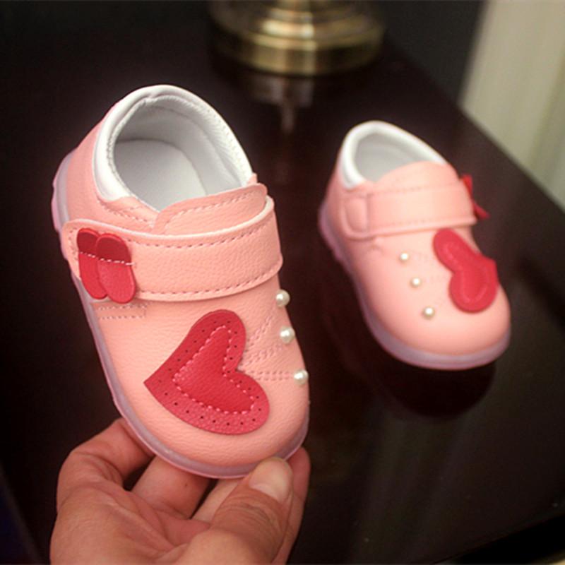 爱心珍珠学步鞋 皮鞋宝宝鞋子婴儿鞋0-1-2岁公主鞋秋冬季女童鞋