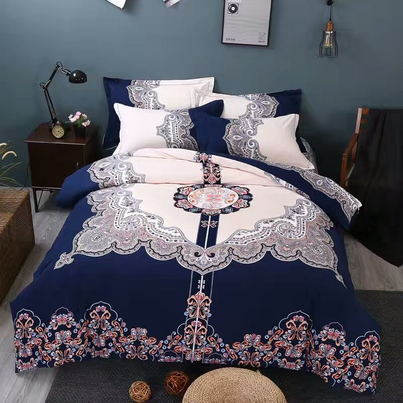 Pure Cotton autumn and winter thickened reactive matte 4-piece all cotton bedding Shengshi wangchaomengbao cartoon European style