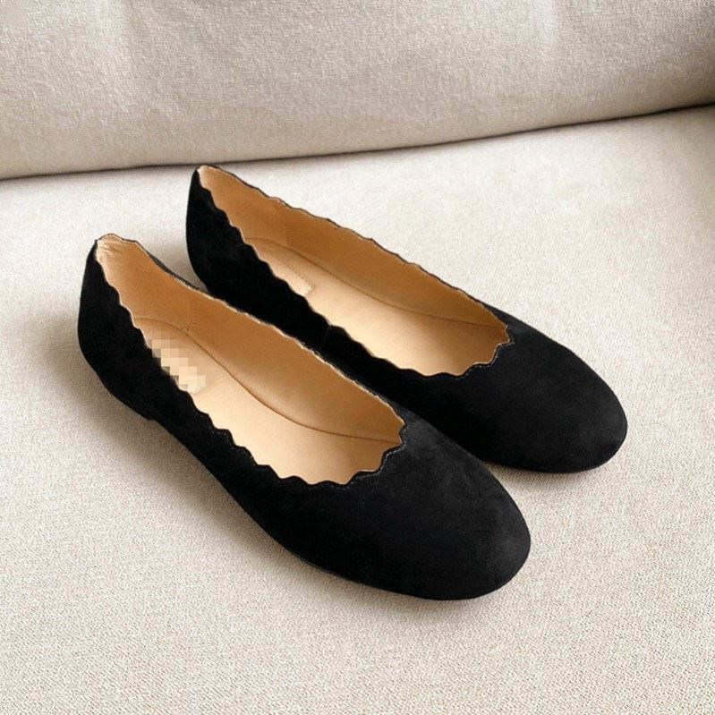 One foot mother shoes round head comfortable lazy shoes leather ballet shoes soft leather flat shoes easy to wear and take off