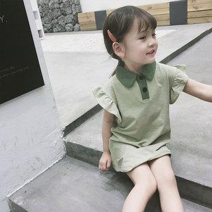 2020女童夏季半袖童裝中長款polo衫兒童休閒上衣寶寶短袖洋氣T恤