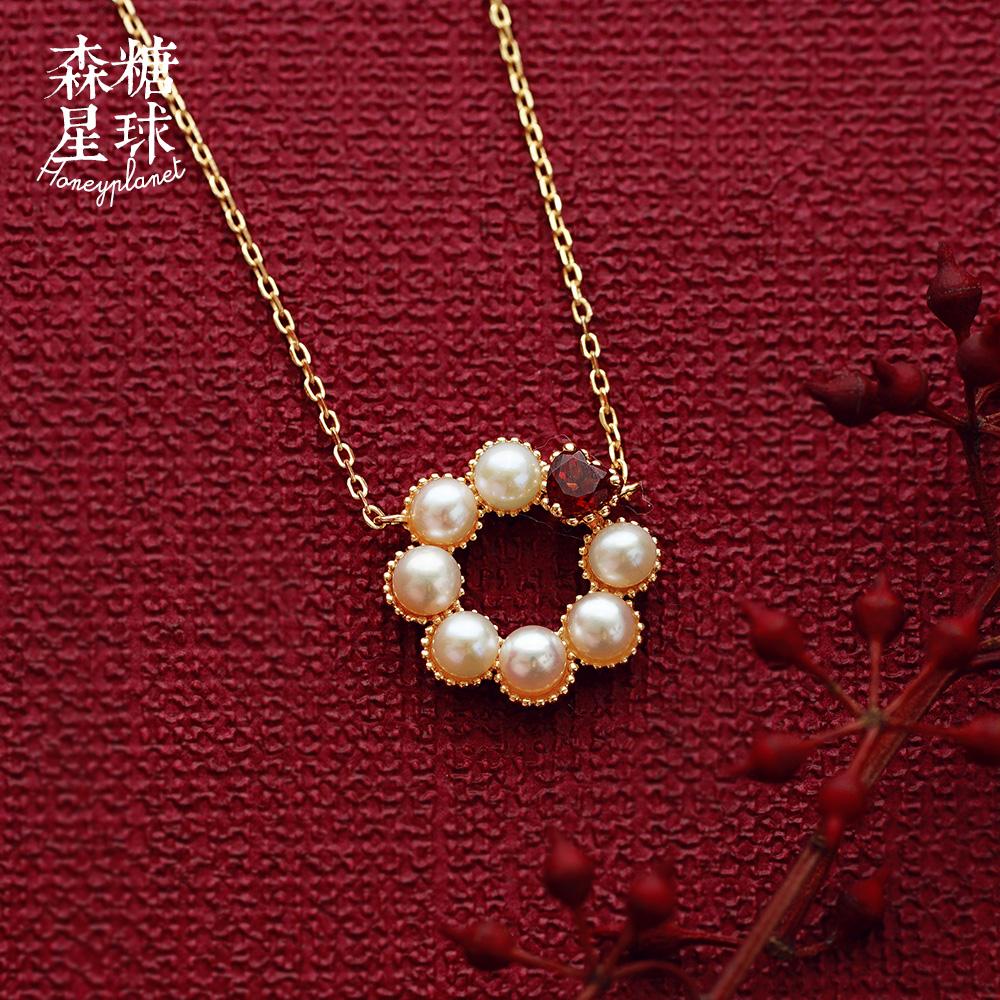 {森糖星球|轻珠宝}草莓牛奶 淡水珍珠石榴石 925纯银项链女2163