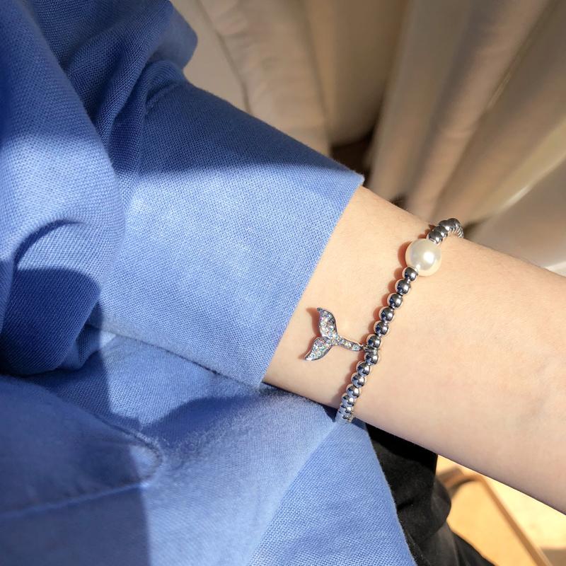 人鱼尾系列 人鱼姬手链ins森系少女镶钻手饰韩国简约珍珠手环S145