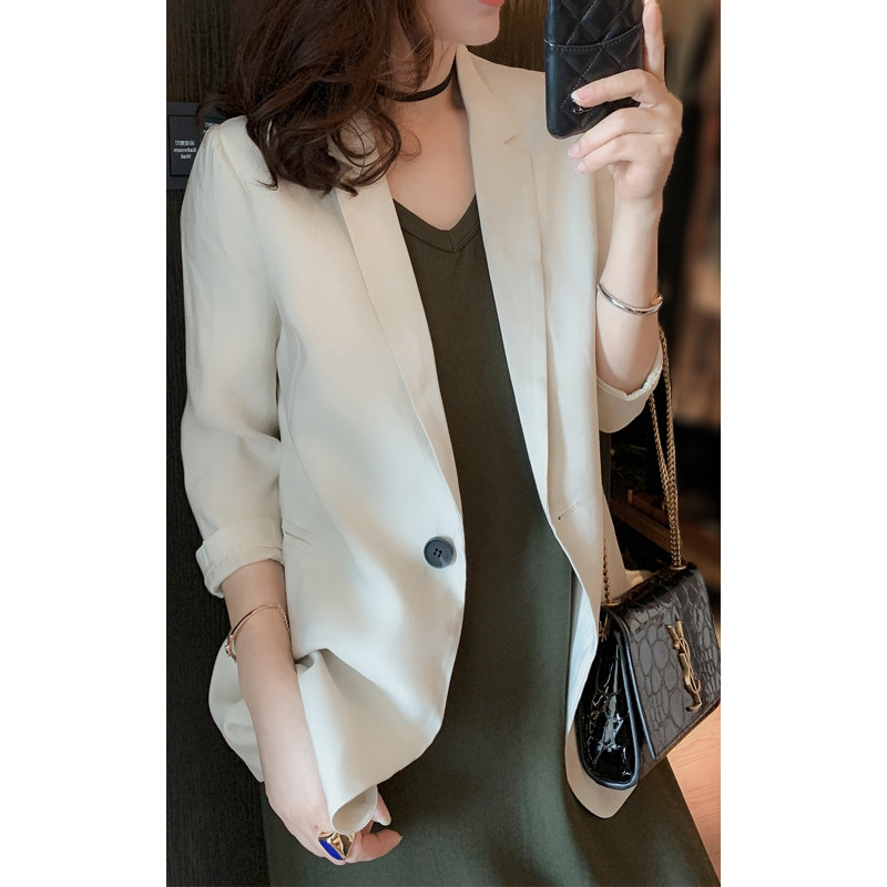 Dayu lady acetate Satin Blazer for womens banquet slim casual suit top summer
