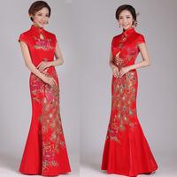 2019 новая коллекция длинный фасон красный свадебное Платье костюм парча новый Нианг рыба хвост Cheongsam тост одежды весна QP1823