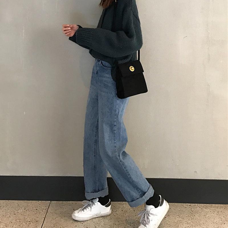 小个子秋冬裤子女秋季2019新款韩版高腰宽松直筒裤显瘦百搭牛仔裤