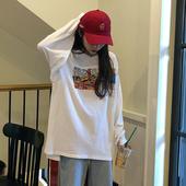 T恤女ins潮学生 宽松百搭中长款 韩版 白色长袖 上衣2019新款 秋季 秋装