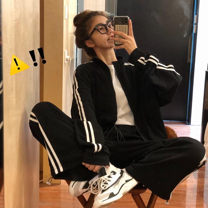 (用0.019999999999996元券)秋季2019新款韩版女生bf宽松潮裤子